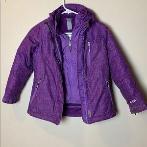 girls size small 6-6X purple 2 layer ski jacket